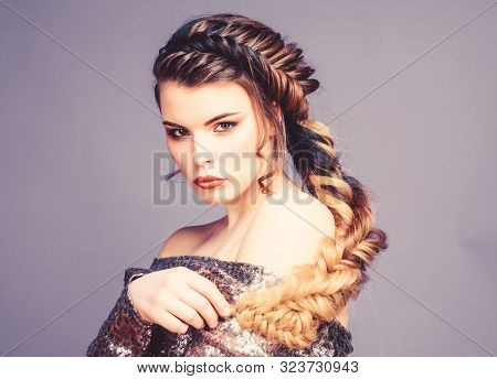 Beauty Salon Hairdresser Art. Girl Makeup Face Braided Long Hair. French Braid. Professional Hair Ca