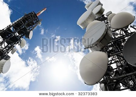 Telecommunication Towers View From Below