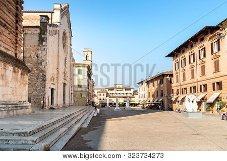 View Of The Main Square With The Pietrasanta Cathedral In Versilia, Tuscany, Italy