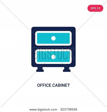 office cabinet icon in two color design style. office cabinet vector icon modern and trendy flat symbol for web site, mobile, app, logo, UI. office cabinet colorful isolated icon on white background. office cabinet icon simple vector illustration,