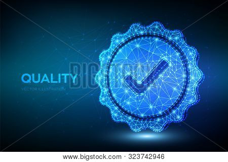 Quality. Low Polygonal Quality Icon Check. Standard Quality Control Certification Assurance. Guarant