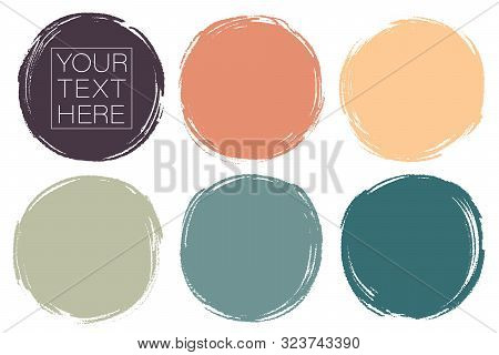 Vector Set Of Hand Painted Circles For Backdrops. Colorful Artistic Hand Drawn Backgrounds. Hand Dra