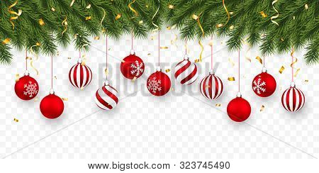 Festive Christmas Or New Year Background. Christmas Fir-tree Branches With Confetti And Xmas Red Bal