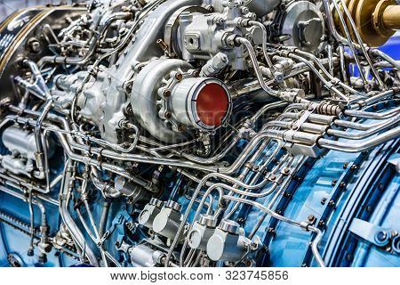 Engine Technology In Airplane Close Up