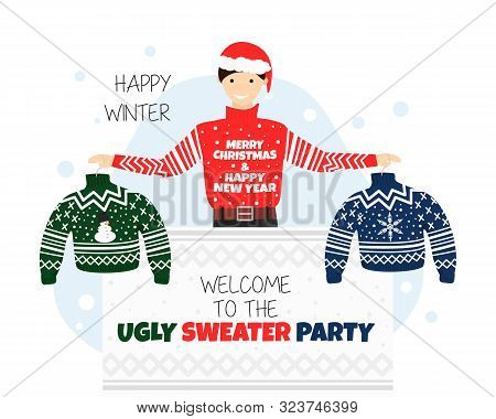Vector Banner For Welcome To Ugly Sweater Party. Invitation Or Poster For Christmas And New Year Par
