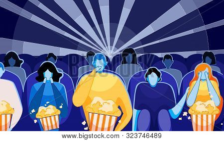 People Watching Movie Or Film And Eating Pop Corn Flat Cartoon Vector Illustration. Cinema Audience