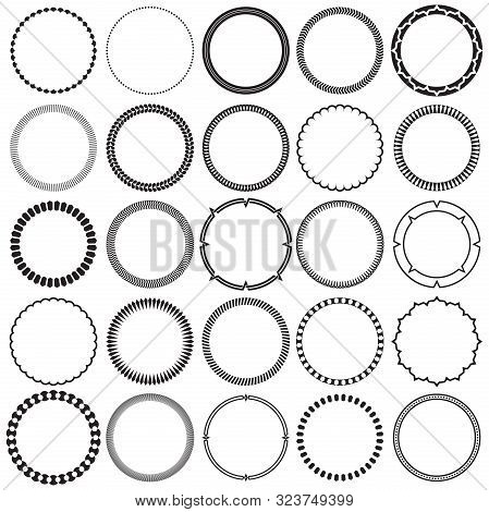 Collection Of Round Decorative Ornamental Border Frames With Clear Background. Ideal For Vintage Lab