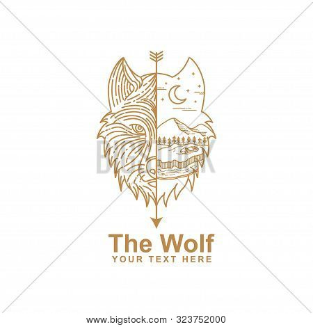 Illustration Of Wolf Head Line Art And Wild Environment. Wolf Head Line Art Design Isolated White Ba
