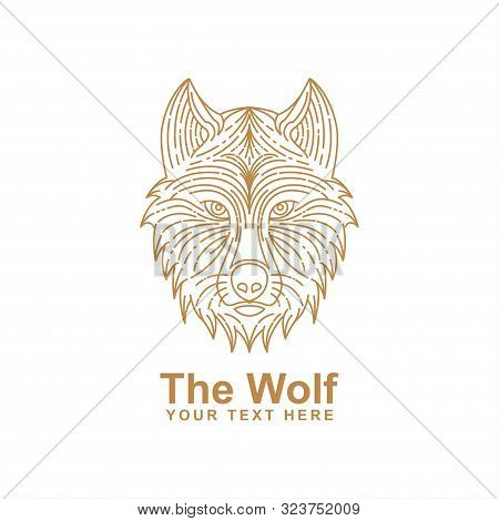 Wolf Head Line Art Design Isolated White Background. Wolf Icon Isolated On White Background. Wolf Ic