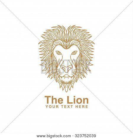 Lion Head Line Art Design Isolated White Background. Vector Lion. Lion Logo. Lion Head Vector. Lion