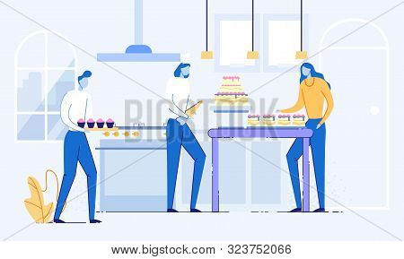 Young Woman Confectioner In Cook Cap Decorating Birthday Or Wedding Cake With Crem Near Cupcakes Car