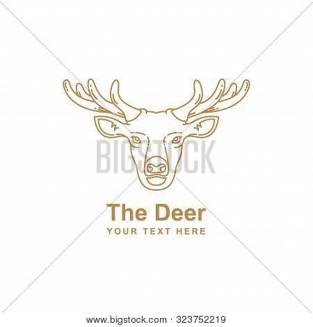 Mono Line Design Deer Head Isolated White Background. Deer Head Gold Logo Icon. Deer Icon Art. Deer