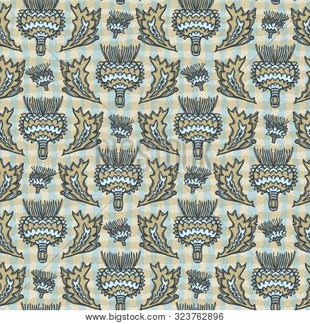 Seamless Vector Pattern. Hand Drawn Thistle Leaf Floral Damask. Ornamental Baroque All Over Print. R