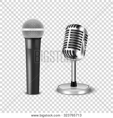 Vector 3d Realistic Steel Silver Retro Concert Vocal Stage Microphone Icon Set Closeup Isolated On T