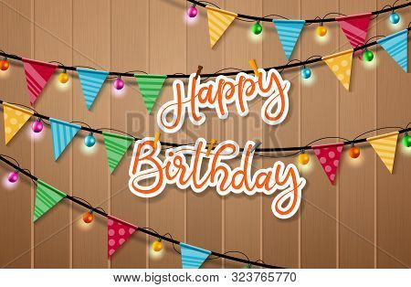 Happy Birthday Hanging Vector Background Design. Happy Birthday Paper Cut Word Hanging And Clip In R