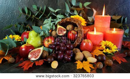 Thanksgiving Cornucopia Table Setting Centerpiece Close Up.