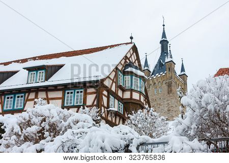 The Medieval Half-timbered House And The Blue Tower Are The Sights Of The Old Town Of Bad Wimpfen, G