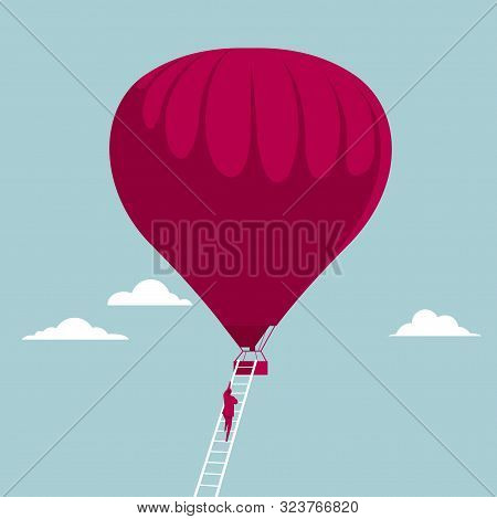 Businessman Climbs A Hot Air Balloon Using A Ladder. Isolated On Blue Background.
