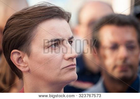 Belgrade, Serbia - September 15, 2019:  Prime Minister Ana Brnabic With Serious Face In The Crowd Of