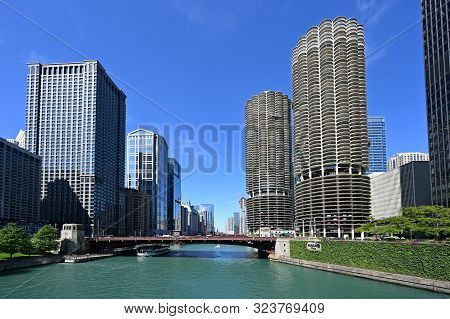 Chicago, Illinois - August 9, 2019 - Chicago River And Riverfront Buildings On A Clear Sunny Summer