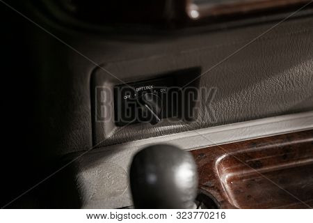 Novosibirsk, Russia - August 27, 2019:  Nissan Patrol, Close-up Of Differential Lock Buttons. Modern