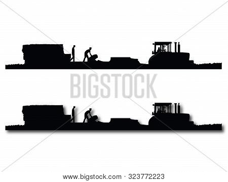 Black And White Silhouettes Of A Tractor Pulling A Baler And Wagon In A Field Of Straw Or Hay With T