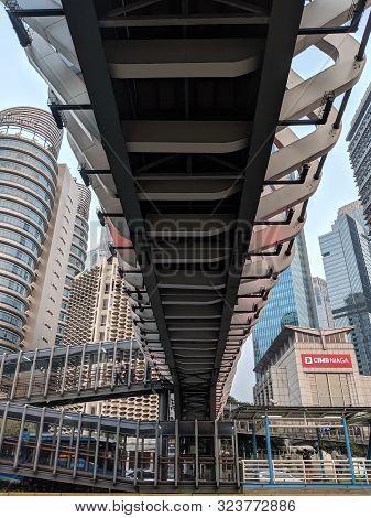 Jakarta, Indonesia - August 3, 2019: Gelora Bung Karno (gbk) Pedestrian Bridge On Sudirman Street Wi
