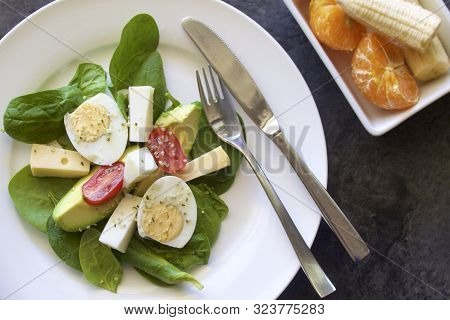 Fresh Salad On A Plate Set For Lunch.
