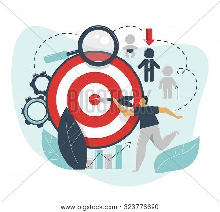 The Concept Of Demographic Targeting. A Man Hits A Target With A Dart. Advertising Settings For The