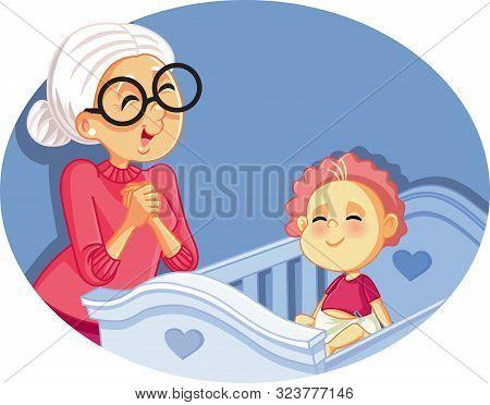 Happy Grandmother Babysitting Cute Baby Vector Cartoon