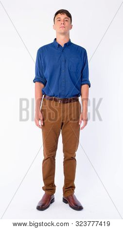 Full Body Shot Of Young Handsome Businessman