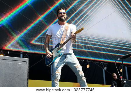 LAS VEGAS-SEPT 21: Matthew Ramsey of Old Dominion performs at the Daytime Village at the 2019 iHeartRadio Music Festival on September 21, 2019 at the Las Vegas Festival Grounds in Las Vegas, Nevada.