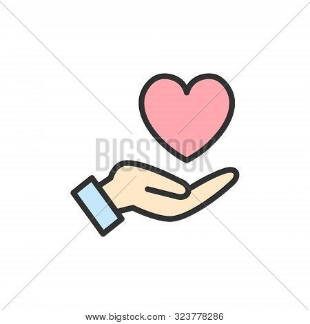Vector Hand Holds Heart, Care, Kindness Charity, Donation Flat Color Line Icon.