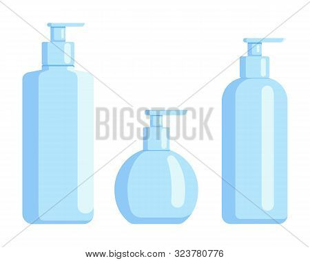 Plastic Bottle Set Design Flat Oil And Beverage. Set Containers Of Different Capacities Large Small