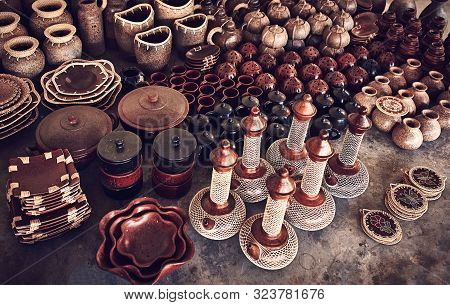 Collection Of Handmade Ceramic Pottery, Local Craft Products. Decorative Ceramic Handmade Decoration