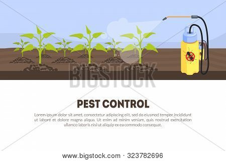 Pest Control Banner Template With Spray Insecticide And Space For Text, Spray Equipment For Farming,