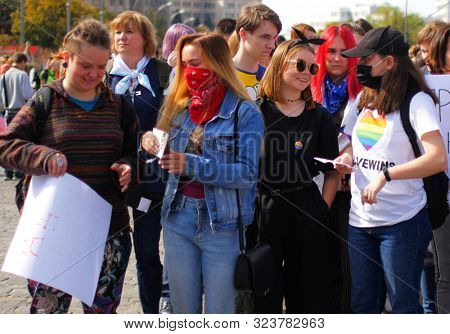 Kharkov, Ukraine, September 15, 2019. LGBT Pride Parade for the Rights and Equality of People.