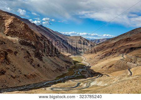 Manali Leh road near Tanglang la Pass - mountain pass in Himalayas along the Leh-Manali highway. Ladakh, India