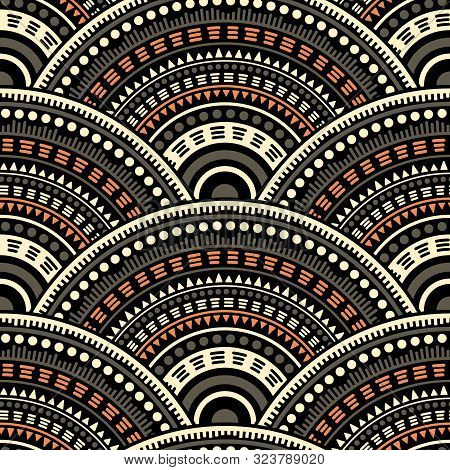 African Overlapping Circles Tile Design Vector Seamless Pattern. Tribal Motifs Organic Repeating Geo