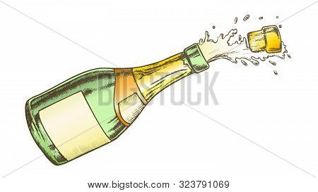 Champagne Blank Label Glass Bottle Color Vector. Flies Cork, Splash And Fizz Champagne. Bang Open Pa