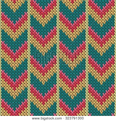 Clothing Downward Arrow Lines Knitted Texture Geometric Seamless Pattern. Scarf Knitwear Structure I