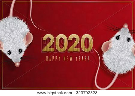 2020 Chinese New Year Design. Year Of The White Rat In The Eastern Calendar. Date With A Stylized Mo