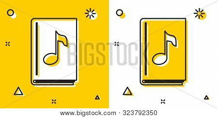 Black Audio Book Icon Isolated On Yellow And White Background. Musical Note With Book. Audio Guide S