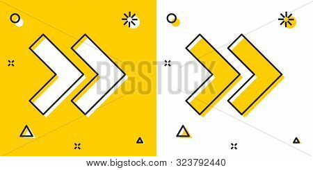 Black Arrow icon isolated on yellow and white background. Direction Arrowhead symbol. Navigation pointer sign. Random dynamic shapes. Vector Illustration poster