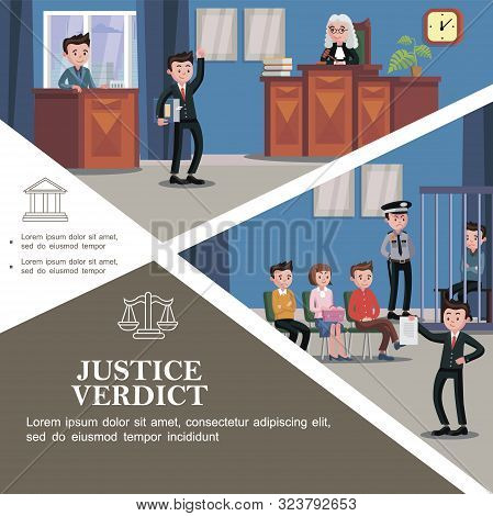 Flat Judicial System Template With Different Participants Of Court Hearing And Happy Lawyer Holding