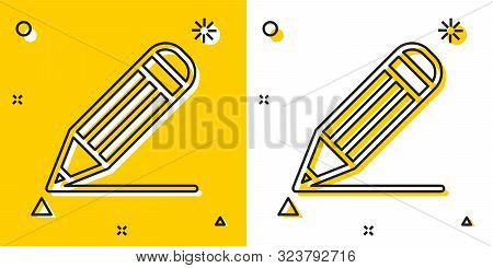 Black Pencil And Line Icon Isolated On Yellow And White Background. Education Sign. Drawing And Educ