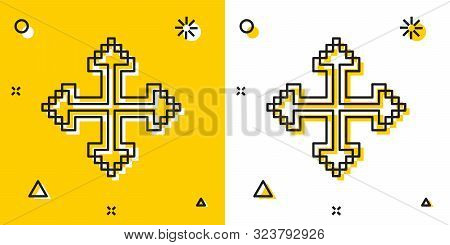Black Pixel Arrows In Four Directions Icon Isolated On Yellow And White Background. Cursor Move Sign