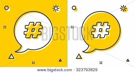 Black Hashtag Speech Bubble Icon Isolated On Yellow And White Background. Concept Of Number Sign, So