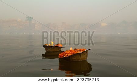 Offerings And Devotion For The Mother Gnaga River And Nature Image Is Taken At Varanasi India On Jan