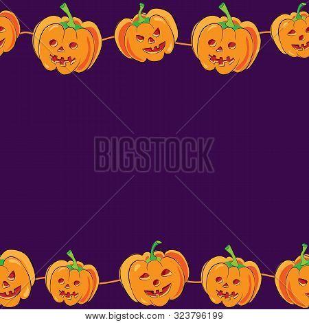 Vector Horizontal Seamless Halloween Banner With Cartoon Cute And Funny Pumpkins On Purple Backgroun